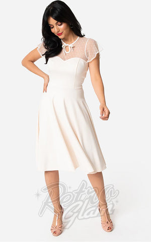 Unique Vintage 1940's Heather Midi Dress in Ivory