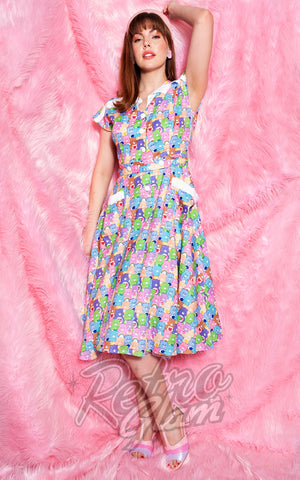 Unique Vintage Hedda Swing Dress in Care Bear Party Print