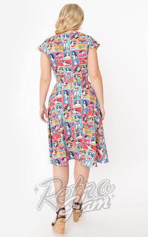 Unique Vintage X Wonder Woman Collage Print Hedda Dress
