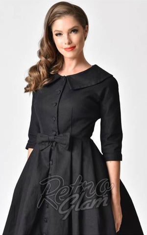 Unique Vintage Hedren Coat Dress in Black detail
