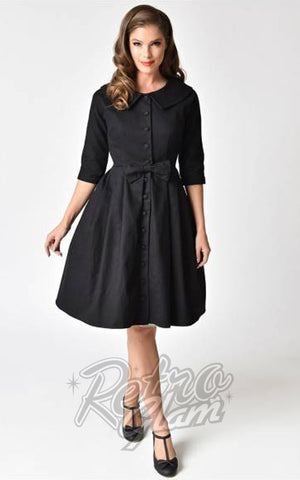 Unique Vintage Hedren Coat Dress in Black