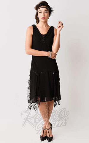 Unique Vintage Hemingway Flapper Dress in Black