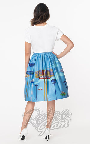 Unique Vintage X Jetsons Jayne Swing Skirt in Orbit City Print back