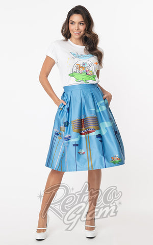 Unique Vintage X Jetsons Jayne Swing Skirt in Orbit City Print