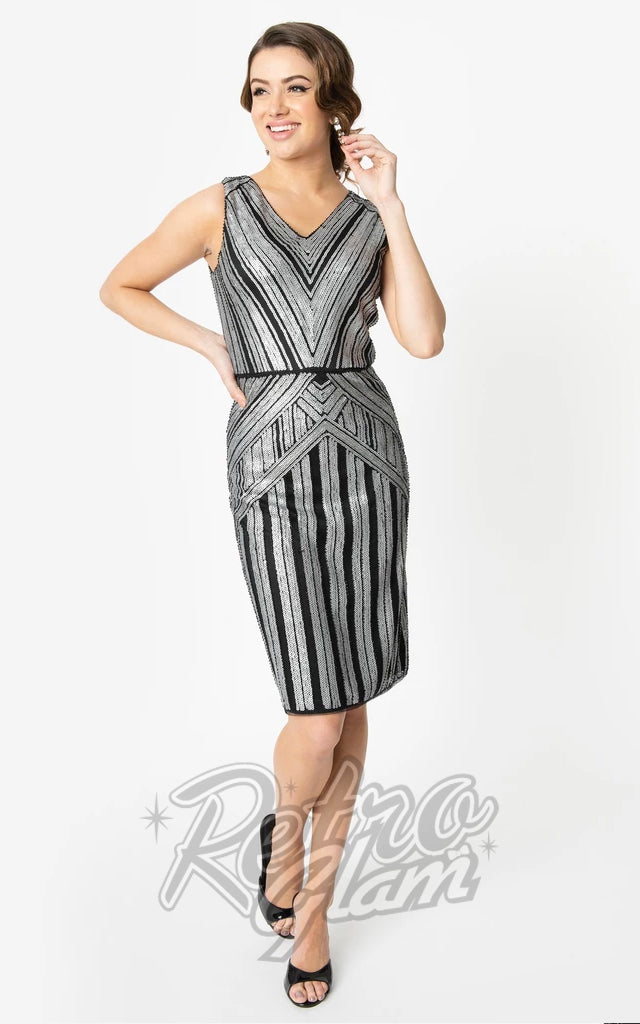 Unique Vintage 1920s Joanna Cocktail Dress in Silver