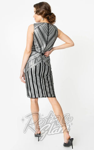 Unique Vintage 1920s Joanna Cocktail Dress in Silver back