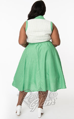 Unique Vintage Bethany Swing Dress in Green & White Dots plus size back