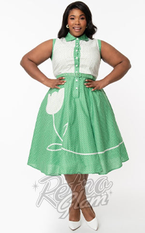 Unique Vintage Bethany Swing Dress in Green & White Dots plus size