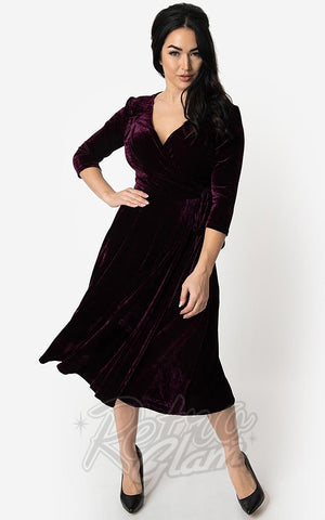 Unique Vintage Velvet Kelsie Wrap Dress in Eggplant Purple