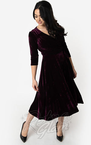 Unique Vintage Velvet Kelsie Wrap Dress in Eggplant Purple swing