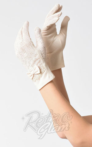 Unique Vintage Lace Bow Gloves in Ivory