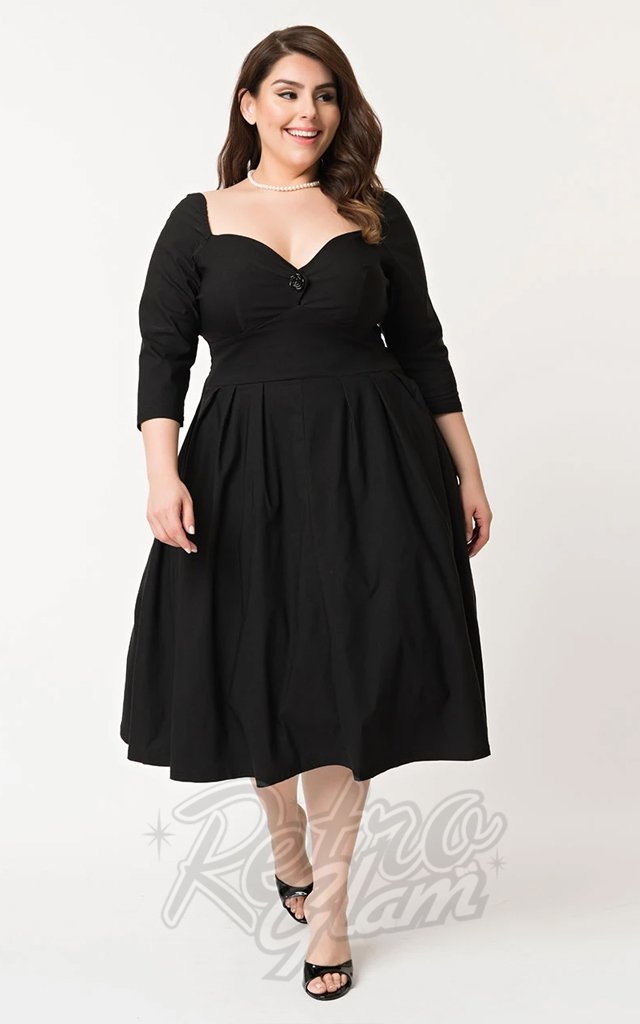 Unique Vintage Lamar Swing Dress in Black