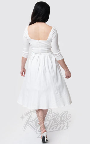 Unique Vintage Lamar Swing Dress in Ivory back