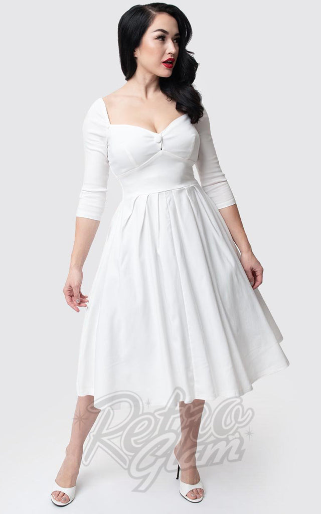 Unique Vintage Lamar Swing Dress in Ivory