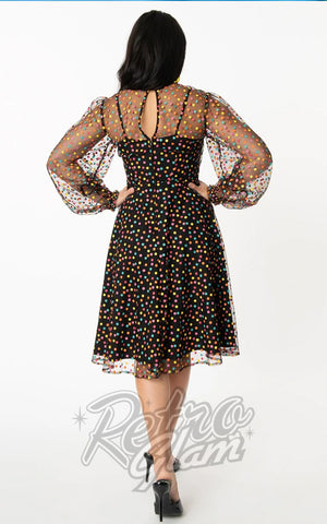 Unique Vintage Sheer Leota Swing Dress in Multicolor Dots back