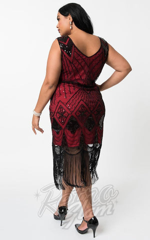 Unique Vintage Lina 1920's Flapper Dress in Red & Black curvy back