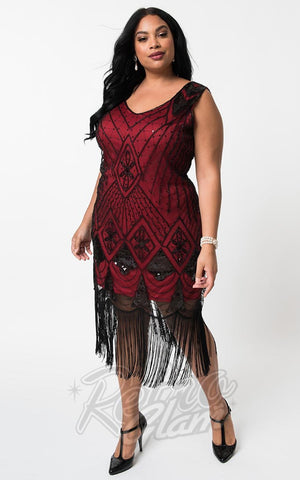 Unique Vintage Lina 1920's Flapper Dress in Red & Black curvy