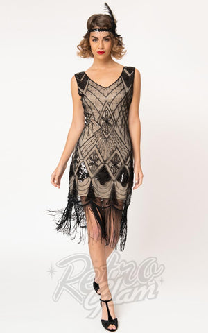 Unique Vintage Lina 1920's Flapper Dress in Beige & Black