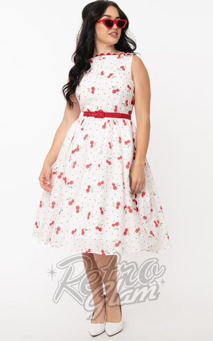 Unique Vintage Livvie Swing Dress in White With Cherries