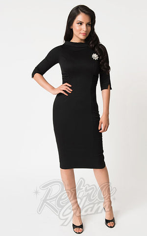 Unique Vintage Lucinda Wiggle Dress in Black