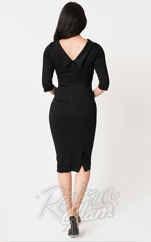 Unique Vintage Lucinda Wiggle Dress in Black back