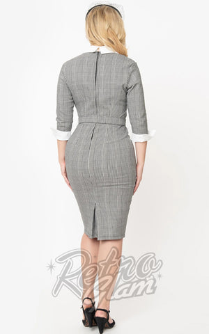 Unique Vintage I Love Lucy Houndstooth TV Star Pencil Dress back