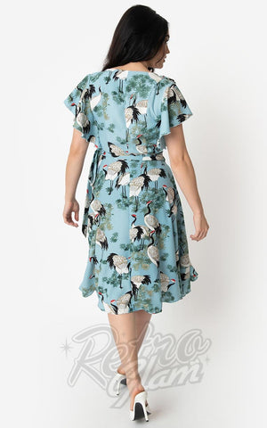 Unique Vintage Luella Dress in Light Blue Cranes Print back
