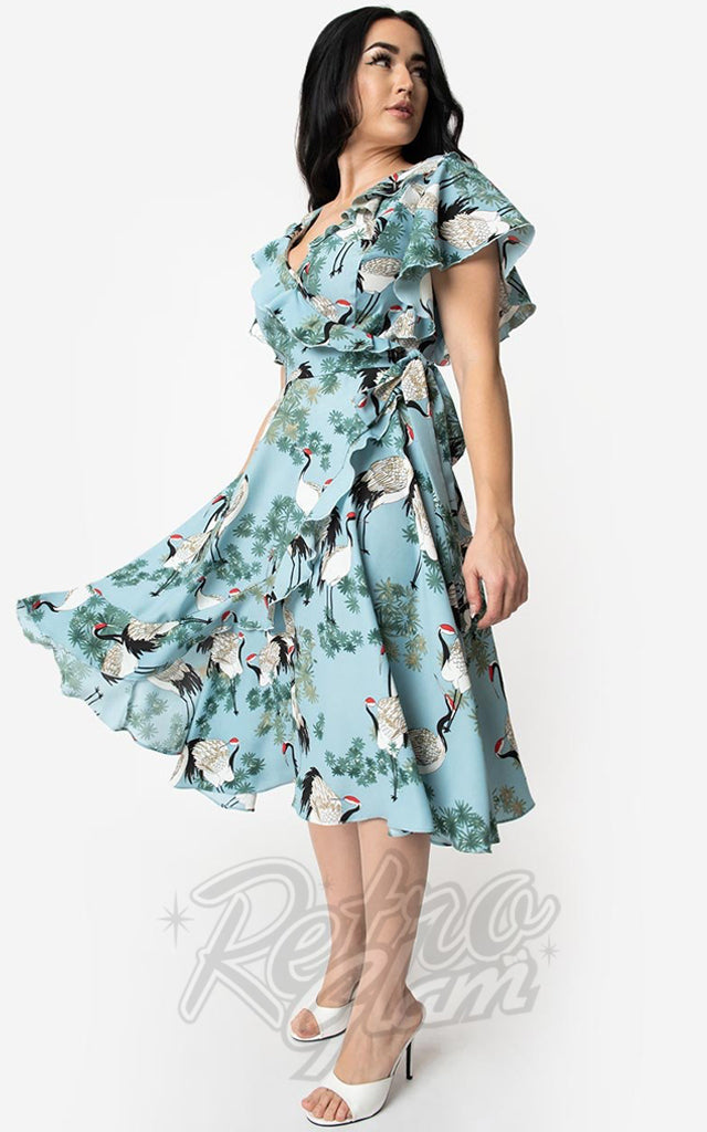 Unique Vintage Luella Dress in Light Blue Cranes Print