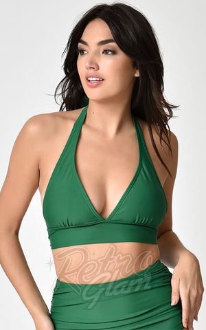 Unique Vintage Lulu Bikini Top in Emerald Green