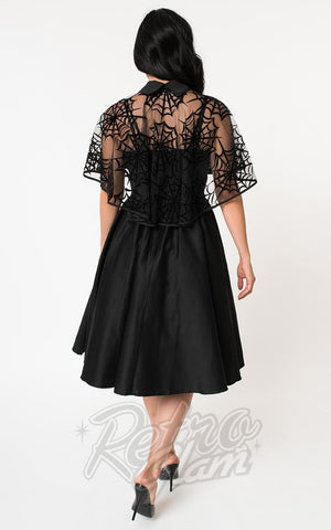 Unique Vintage Luna Swing Dress & Spiderweb Capelet back