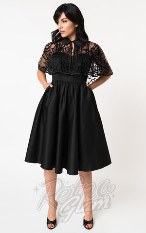 Unique Vintage Luna Swing Dress & Spiderweb Capelet
