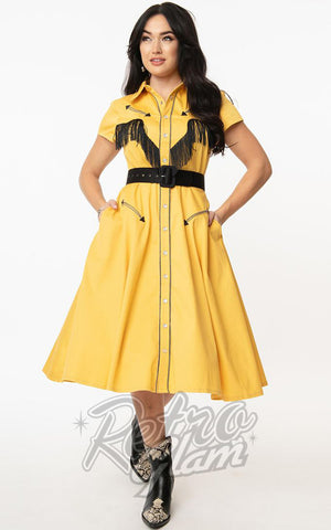 Unique Vintage Madeline Western Swing Dress in Mustard Yellow