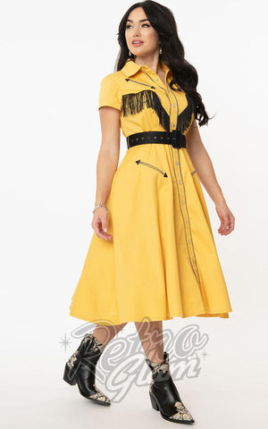 Unique Vintage Madeline Western Swing Dress in Mustard Yellow side