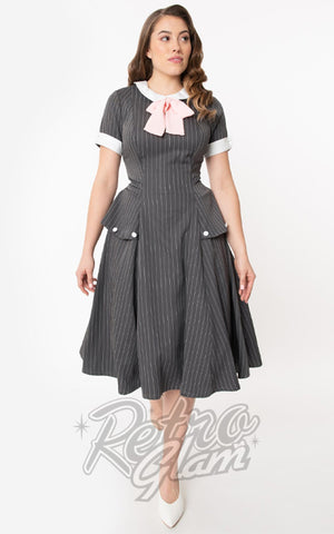Unique Vintage Manchester Dress in Charcoal Pinstripe 40's