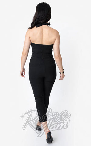 Unique Vintage 1950s Marcel Jumpsuit in Black back