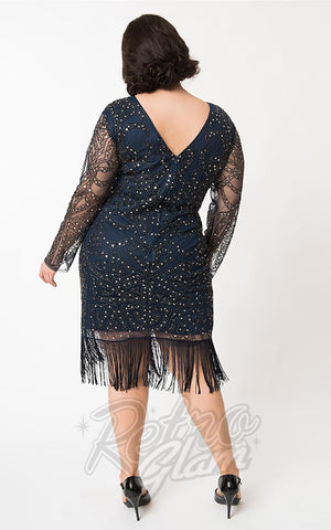 Unique Vintage Marchelle Navy & Silver Cocktail Dress curvy back