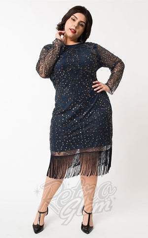 Unique Vintage Marchelle Navy & Silver Cocktail Dress curvy
