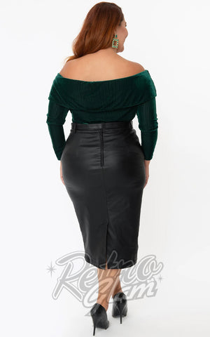 Unique Vintage Marcia Faux Leather Wiggle Skirt plus size back