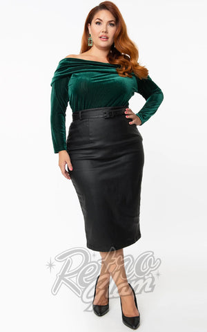 Unique Vintage Marcia Faux Leather Wiggle Skirt plus size