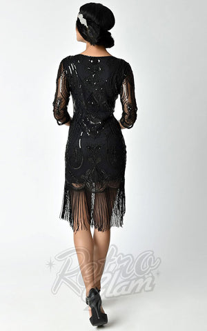 Unique Vintage Margaux Sleeved Black Flapper Dress back