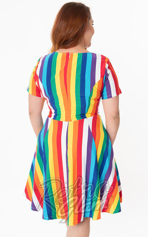 Unique Vintage Margot Dress in Rainbow Stripe plus size back