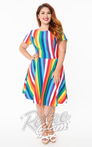 Unique Vintage Margot Dress in Rainbow Stripe plus size
