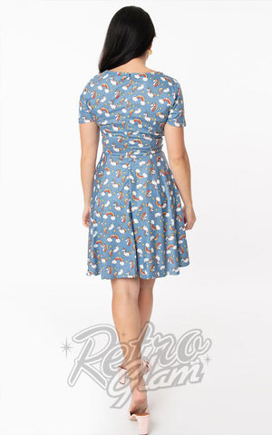 Unique Vintage Margot Dress in Blue Unicorns & Rainbows back