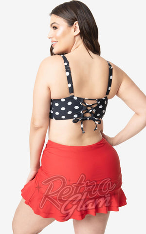 Unique Vintage Marlene Swim Top in Black & White Polka Dot back