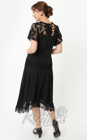 Unique Vintage Marmande Lace Flapper Dress in Black back