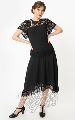 Unique Vintage Marmande Lace Flapper Dress in Black