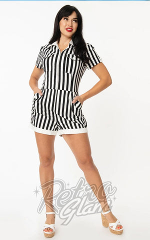 Unique Vintage Mia Romper in Black & White Stripes