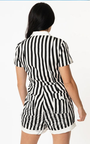Unique Vintage Mia Romper in Black & White Stripes back