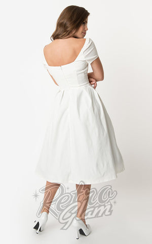 Unique Vintage Midge Swing Dress in Ivory back