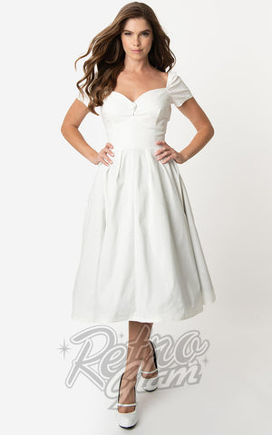 Unique Vintage Midge Swing Dress in Ivory